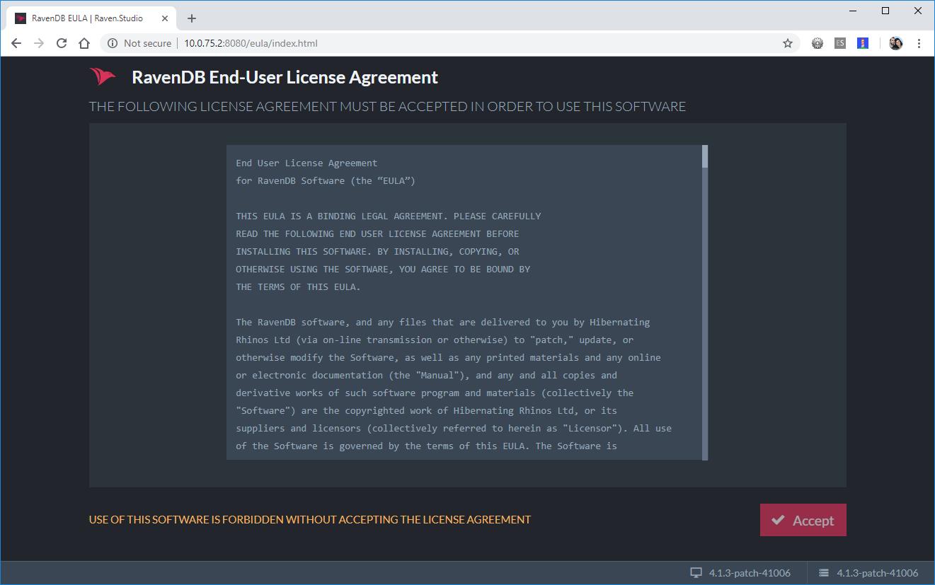 RavenDB End-User License Agreement screen