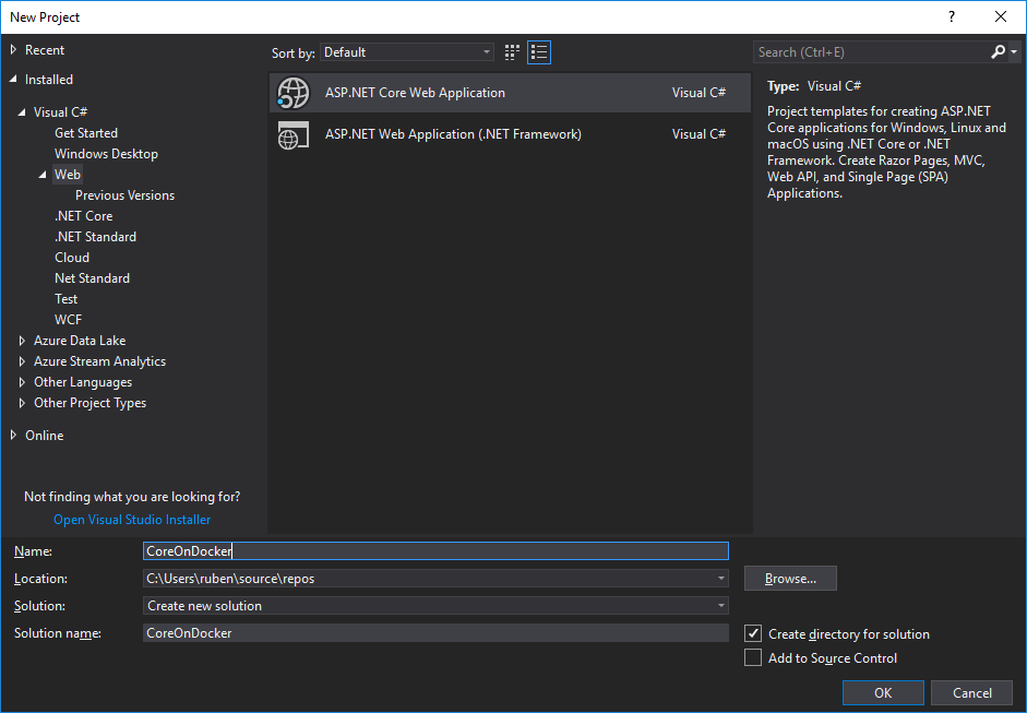 Visual Studio - New .Net Core Project Screen
