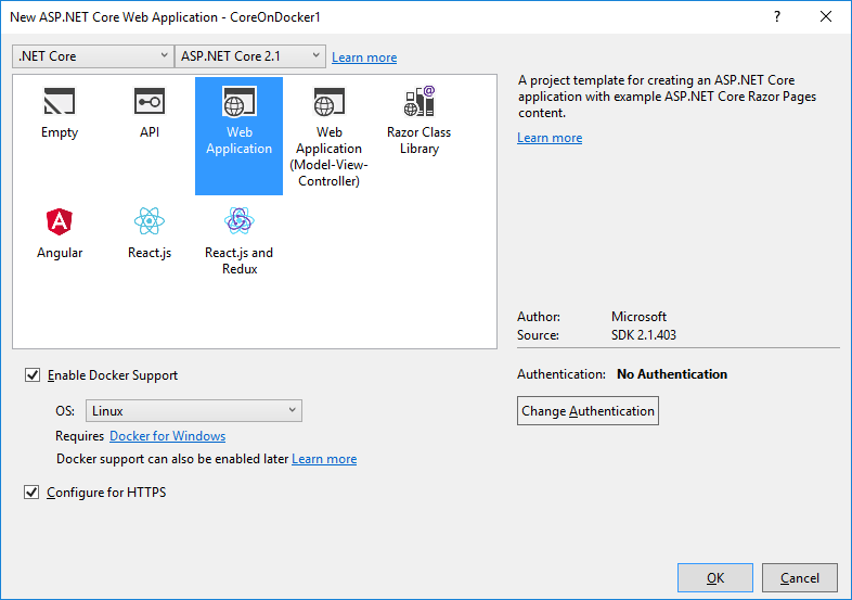 Visual Studio New .Net Core Web Project Settings Page